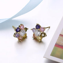 Load image into Gallery viewer, Fashion Delicate Plated Gold Flower Colored Cubic Zircon Stud Earrings