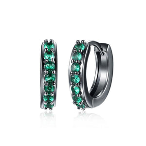 Fashion Simply Geometric Circle Earrings with Green Cubic Zircon