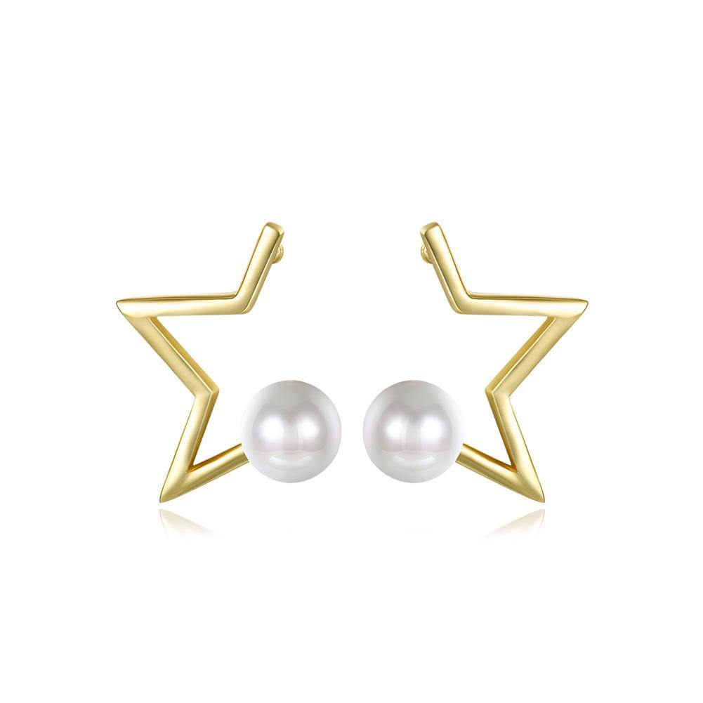 Fashion Simple Plated Gold Star Fashion Pearl Stud Earrings - Glamorousky