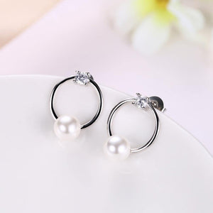 Fashion Simple Geometric Round Pearl Earrings with Cubic Zircon