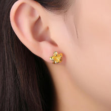 Load image into Gallery viewer, Fashion Elegant Plated Gold Flower Stud Earrings - Glamorousky