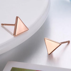 Simple Plated Rose Gold Geometric Triangle Stud Earrings - Glamorousky
