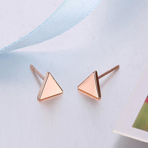 Simple Plated Rose Gold Geometric Triangle Stud Earrings