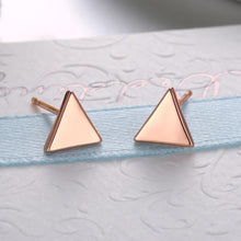 Load image into Gallery viewer, Simple Plated Rose Gold Geometric Triangle Stud Earrings