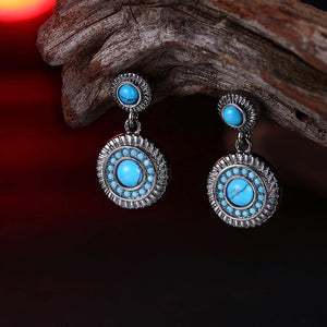 Elegant Vintage Geometric Round Turquoise Earrings - Glamorousky