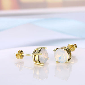 Simple and Fashion Plated Gold Round Austrian Element Crystal Stud Earrings