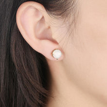 Load image into Gallery viewer, Simple and Fashion Plated Gold Round Austrian Element Crystal Stud Earrings