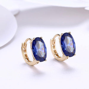 Elegant and Fashion Plated Champagne Geometric Oval Blue Cubic Zircon Earrings