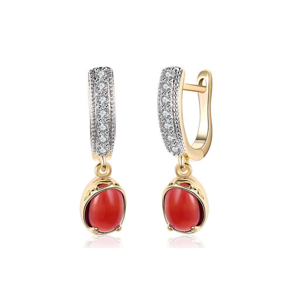 Elegant Romantic Plated Champagne Geometric Round Red Cubic Zircon Earrings