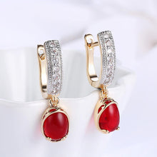 Load image into Gallery viewer, Elegant Romantic Plated Champagne Geometric Round Red Cubic Zircon Earrings