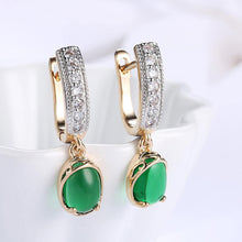 Load image into Gallery viewer, Elegant Romantic Geometric Round Green Cubic Zircon Earrings - Glamorousky
