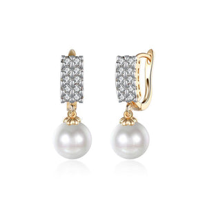 Elegant and Fashion Plated Champagne Double Row Cubic Zircon Pearl Earrings - Glamorousky