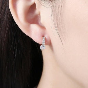 Elegant Romantic Plated Champagne Geometric Cubic Zircon Earrings - Glamorousky