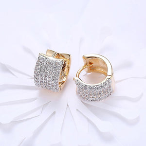 Fashion Dazzling Plated Champagne Gold Geometric Cubic Zircon Earrings