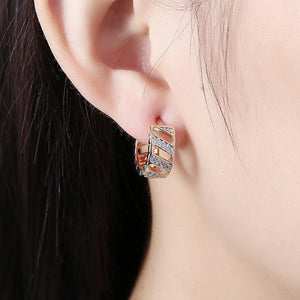 Fashion Elegant Plated Rose Gold Geometric Openwork Cubic Zircon Earrings