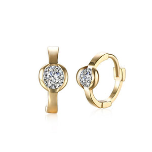 Fashion Simple Plated Champagne Geometric Cubic Zircon Earrings