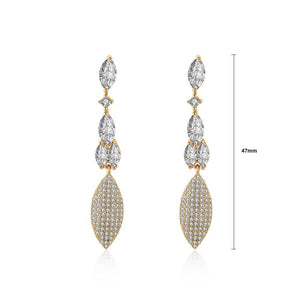 Fashion Simple Plated Champagne Gold Leaf Cubic Zircon Earrings - Glamorousky