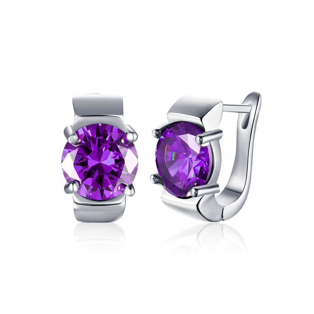 Fashion Elegant Geometric Purple Cubic Zircon Earrings