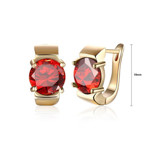Fashion Elegant Plated Champagne Gold Geometric Red Cubic Zircon Earrings - Glamorousky