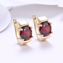 Load image into Gallery viewer, Fashion Elegant Plated Champagne Gold Geometric Red Cubic Zircon Earrings - Glamorousky