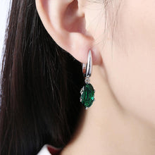Load image into Gallery viewer, Fashion Simple Geometric Oval Green Cubic Zircon Earrings