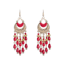 Load image into Gallery viewer, Fashion Exaggerated Long Tassel Vintage Red Earrings