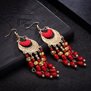 Fashion Exaggerated Long Tassel Vintage Red Earrings