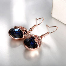 Load image into Gallery viewer, Fashion Elegant Plated Rose Gold Geometric Earrings with Blue Austrian Element Crystal
