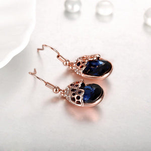 Fashion Elegant Plated Rose Gold Geometric Earrings with Blue Austrian Element Crystal