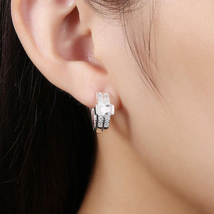 Fashion Bright Geometric Round Cubic Zirconia Stud Earrings