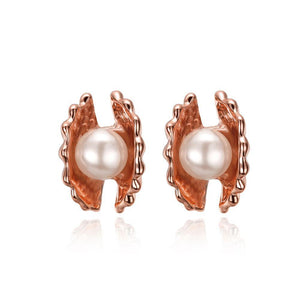 Elegant Fashion Plated Rose Gold Pearl Shell Stud Earrings - Glamorousky