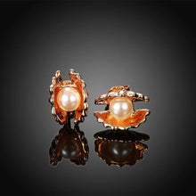 Load image into Gallery viewer, Elegant Fashion Plated Rose Gold Pearl Shell Stud Earrings - Glamorousky