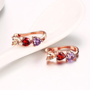 Fashion Plated Romantic Rose Gold Tricolor Heart Shaped Cubic Zircon Stud Earrings