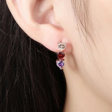 Load image into Gallery viewer, Fashion Plated Romantic Rose Gold Tricolor Heart Shaped Cubic Zircon Stud Earrings