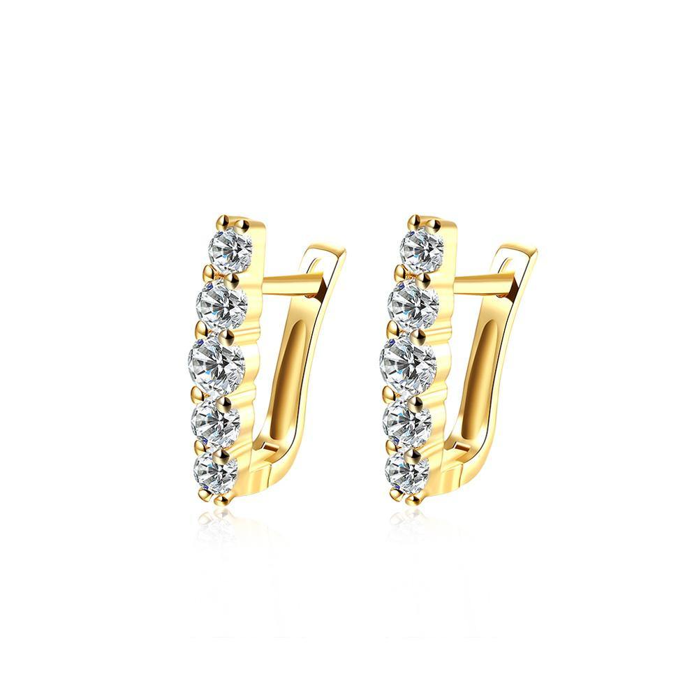 Fashion Elegant Plated Gold Geometric Cubic Zirconia Stud Earrings