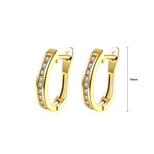 Fashion Simple Plated Gold Geometric Cubic Zirconia Stud Earrings