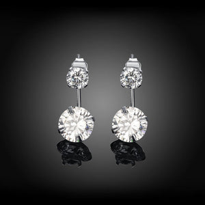 Fashion Simple Geometric Round Cubic Zircon Earrings