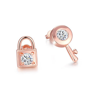 Fashion Plated Rose Gold Key Lock Cubic Zircon Stud Earrings