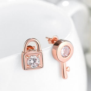 Fashion Plated Rose Gold Key Lock Cubic Zircon Stud Earrings - Glamorousky