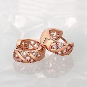 Simple and Fashion Plated Rose Gold Geometric Round Cubic Zircon Stud Earrings