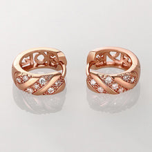 Load image into Gallery viewer, Simple and Fashion Plated Rose Gold Geometric Round Cubic Zircon Stud Earrings