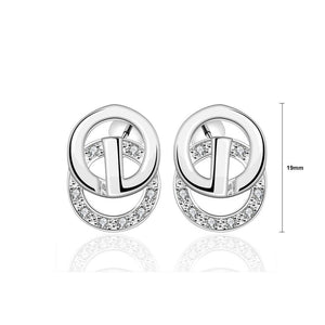 Simple and Fashion Geometric Round Cubic Zircon Stud Earrings - Glamorousky