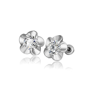 Fashion Elegant Flower Cubic Zircon Stud Earrings - Glamorousky