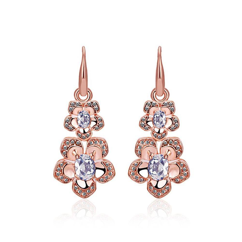 Fashion Elegant Plated Rose Gold Cubic Zirconia Earrings - Glamorousky