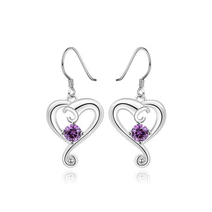 Simple and Romantic Heart-shaped Purple Cubic Zircon Earrings