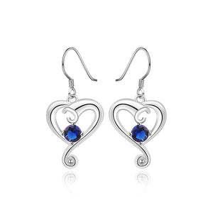 Simple and Romantic Heart-shaped Blue Cubic Zircon Earrings