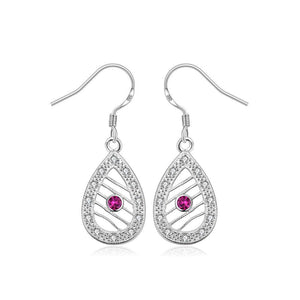 Simple and Fashion Water Drop-shaped Cutout Earrings with Purple Cubic Zircon