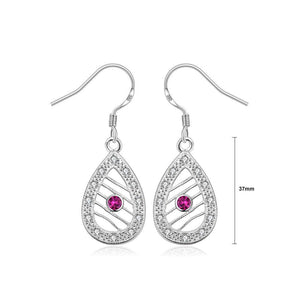 Simple and Fashion Water Drop-shaped Cutout Earrings with Purple Cubic Zircon - Glamorousky