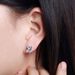 Simple and Fashion Geometric Rectangular Cubic Zircon Stud Earrings
