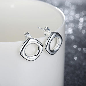 Simple and Fashion Hollow Geometric Round Stud Earrings - Glamorousky